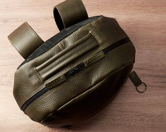 Green Leather Backpack, 13-inch Laptop Rucksack, Back To School. Travel Designer Bag. Personalized Gifts For Men. Mens Bags. Custom Monogram
