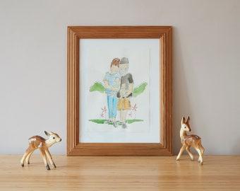Custom watercolour family portraits