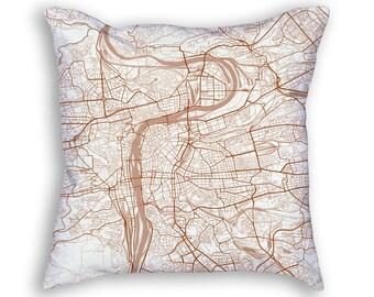 Prague Czech Republic Street Map Throw Pillow