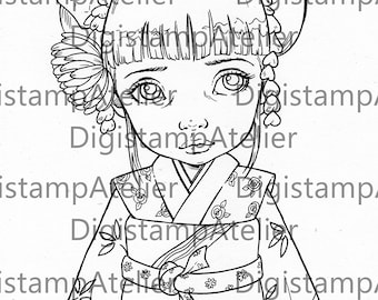Maiko. INSTANT DOWNLOAD Digital Digi Stamps.
