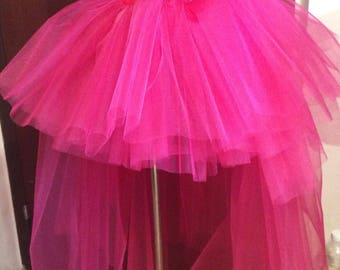 Hot Pink Tulle Tutu Skirt With Train, Tulle Skirt Tail