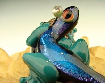 Dichroic Glass LIZARD Gecko on a branch Paperweight Figurine Blue  Aqua Red eye (made to order)