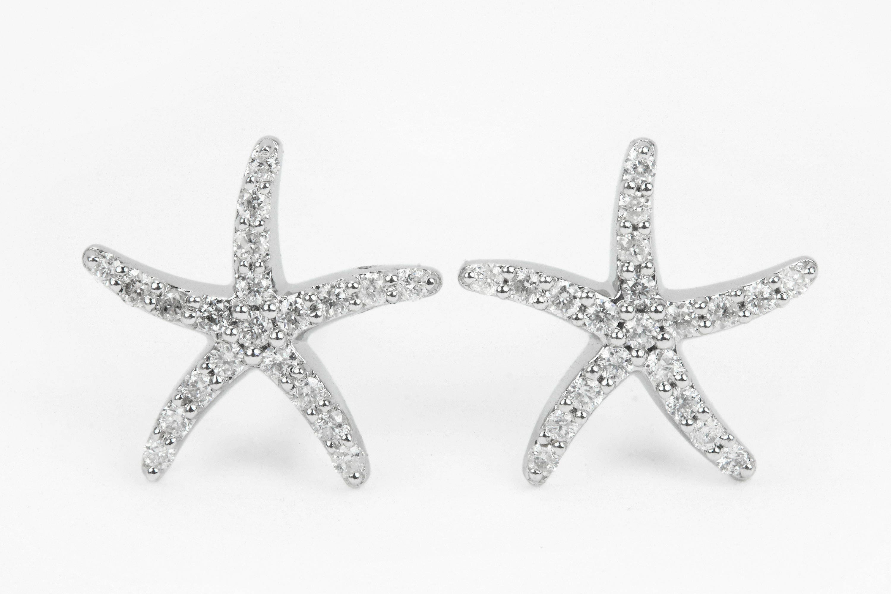 shaped stud with rhinestones star original large silver img thumbnail earrings starfish collections products in