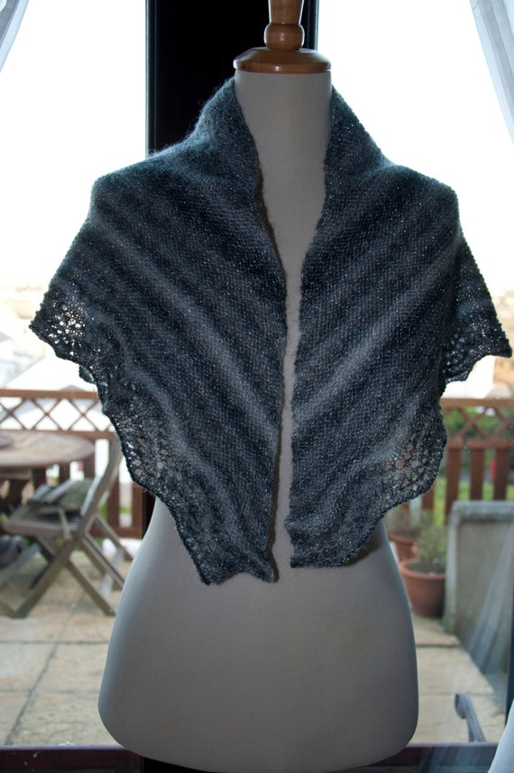 Handknitted Sparkle Shawl/Shawlette in Shades of Grey and White