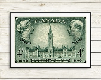 Ottawa Canada, Canadian Parliament, Queen Victoria, King George VI, Responsible Government, Peace Tower, Victorian Art, large green posters