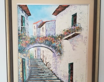 SPAIN PAINTING / Mothers Day Gift / Spanish Architecture / Home Decor / Oil Painting / Birthday Gift / Spain Painting / Flower Art