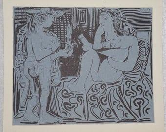 Pablo Picasso,  1950's  Deux Femme,  Vintage Original Linogravure,  Antique Art, Blue and Black Decor