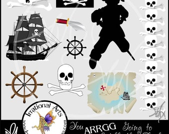 Pirate boy You ARRGG Going to Walk the Plank set 1 INSTANT DOWNLOAD of 10 png files clip art graphics for scrapbooking