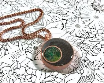 Crescent Orgone Energy Pendant - Peridot, tourmaline, fuschite, jade, serpentine, sea glass, heart chakra