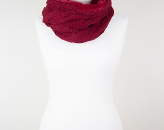 Red Knitted Womens Snood - Scarf