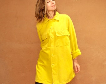 vintage MID CENTURY bright HUGE long woolrich style button up dress faded 60s vintage women's blouse top flannel