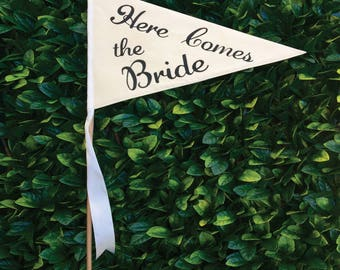 Flower Girl Sign | Page Boy Sign | Here comes the Bride Pennant Flag | Ring Bearer Flag | Wedding Sign | Rustic Wedding | Wedding Aisle Sign