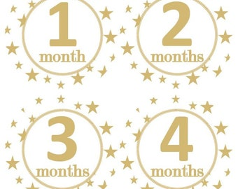 Baby Monthly Milestone Growth Stickers Gold Stars Nursery Theme MS970 Baby Shower Gift Baby Photo Prop