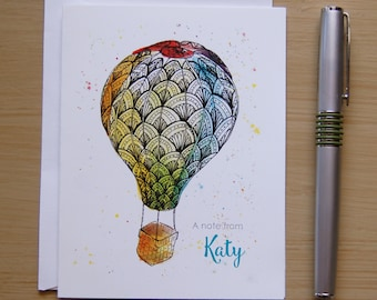 Personalized Hot Air Balloon Note Cards, Watercolor Zentangle Hot Air Balloon, Thank You Note, Teacher Appreciation Gift, Coworker Gift