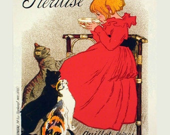 Vintage French Milk Poster- Advertisement Poster - Childs Room Decor - Cat Lover Print - Kitchen Wall Decor - French Kitchen Art