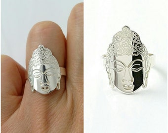 Buddha Silver 925/000 - silver ring, adjustable size Buddha - Buddha ring sterling 925 silver ring