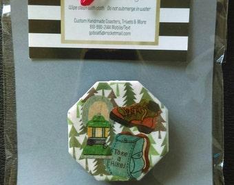 Pine Tree, Camping Lantern, Backpack Cute Magnet, Great Gift Idea, Cabin, Great Gift Idea, Fridge Decor, Refridgerator, Up North
