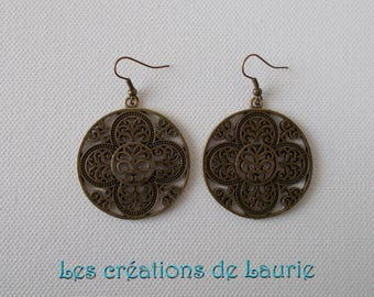Bronze earrings round floral pendant