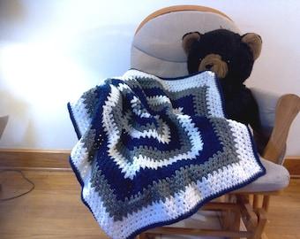 Hexagon Baby Blanket- Navy, Grey, White