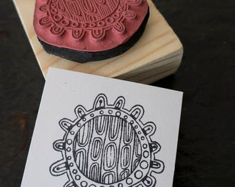 Cellular Circle Mounted Rubber Stamp