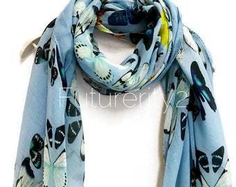 Multi Butterfly Light Blue Scarf / Spring Summer Scarf / Autumn Scarf / Gifts For Her / Women Scarves / Handmade Accessories
