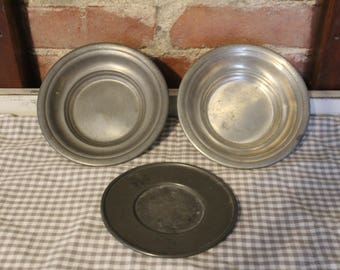 Set of 3 PEWTER Bowls & Plate*Vintage*Antique*FARMHOUSE Style*MorningStroll