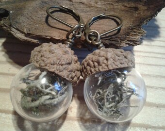 Earrings Globe Glass Lichen