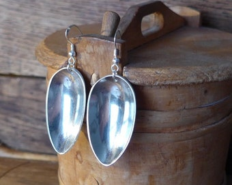 Upcycled silver plated spoon earrings