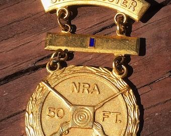 NRA  50 Feet Sharpshooter Award Brooch Pin Signed Blackinton