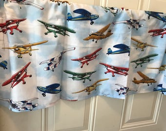 Boys Room Airplane Blue And White Clouds Curtain Valance