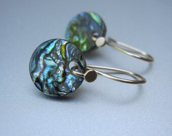 Abalone Shell Disc Drops Solid 14k Gold Earrings