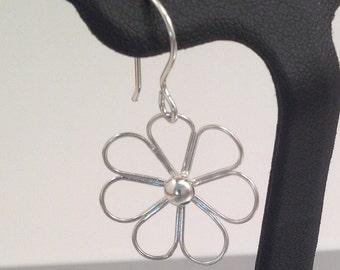 Happy Little Flower Earrings in Solid Argentium Sterling Silver