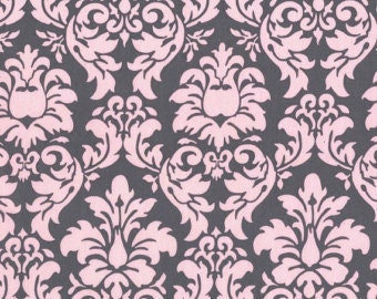 Bloom Dandy Damask for Michael Miller cx3095  Pink Gray quilt fabric