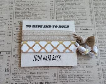 Beautiful Gold White Hair Ties, hair tie favors, bridal shower, bridesmaid, wedding, bachelorette favors, baby shower, hair tie favors