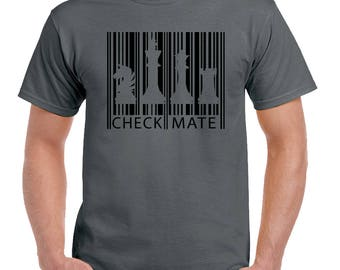 Chess Barcode Mens Funny T-Shirt Board Game Player Set Pieces Timer Clock 2180
