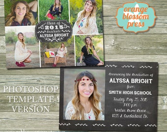 Chalkboard Graduation Announcement Invitation, PHOTOSHOP TEMPLATE, Photographers Template, Photo Collage, Multiple Photos