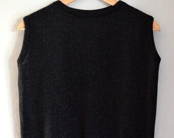 Vintage Black Sparkle Knit Sleeveless Sweater / Sweater Vest