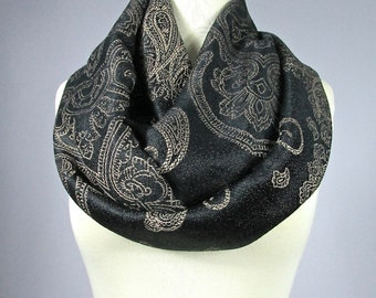 Paisley infinity scarf, black scarf, women accessories