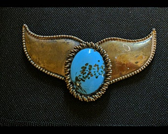 Very old turquoise brass belt buckle