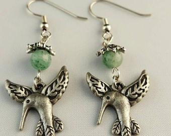 Humming bird drop earrings