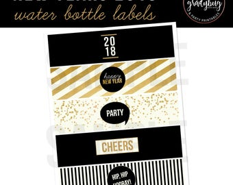 New Years 2018 Water Bottle Labels, Printable Drink Wrappers, New Years Printable, New Years Party, Black and Gold, New Years Eve