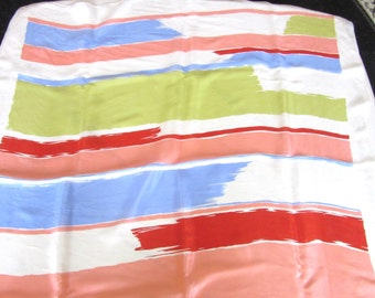 Large Echo Silk Scarf Abstract Color Block 26 x 26 Square