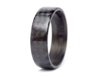 Men's carbon fiber flat ring. Unique and modern black glossy wedding band. Water resistant, very durable and hypoallergenic. (00105_7N)
