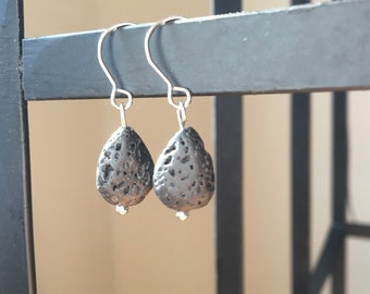 Lava Rock Aromatherapy Diffuser Earrings Stainless Steel and Aromatherapy Blend