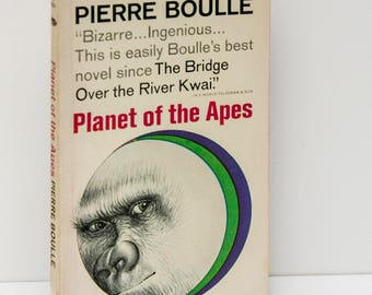 """First Edition vintage paperback, """"Planet of the Apes"""", Pierre Boulle, 1964, Prior to film, original printing, dystopian alternate reality"""