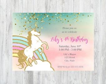 Printable Rainbow Birthday Invitations ~ Rainbow unicorn birthday party invitation template digital
