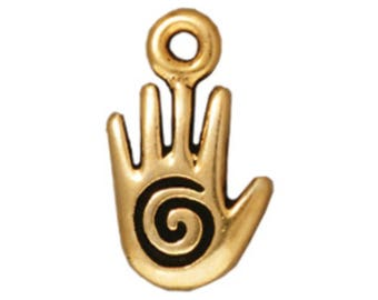 TierraCast Spiral Hand Charm, Antique Gold-Plated Lead-Free Pewter 14.5x8mm Double-Sided Hand Charm, USA Seller, Authorized Dealer (T545)