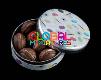 Dollhouse Miniatures Chocolate Macaron in Round Box with Removable Lid - 1:12 Scale