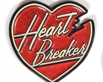 """Glitter """"Heart Breaker"""" Enamel Lapel Pin"""