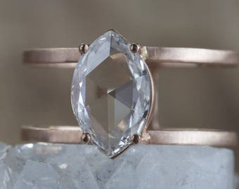 Natural Clear-White Rose Cut Marquis Double Band Diamond Ring